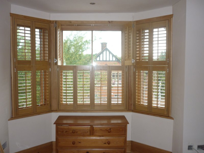 Wooden Window Shutters : Wooden window shutters grasscloth wallpaper