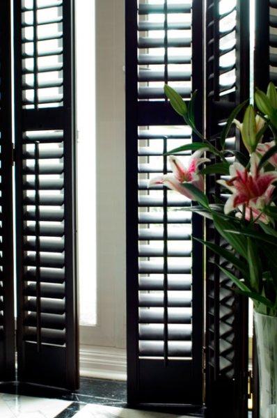 Portland wood shutters interior plantation shutters for windows for Black window shutters interior