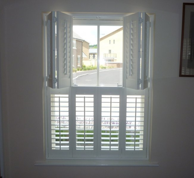 Tier on tier window shutters interior shutters wood for Window shutters